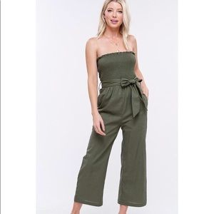 Pants - Linen Smocked Tube Top Jumpsuit
